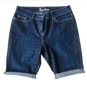 Boden Dark-Wash Bermuda Denim Shorts